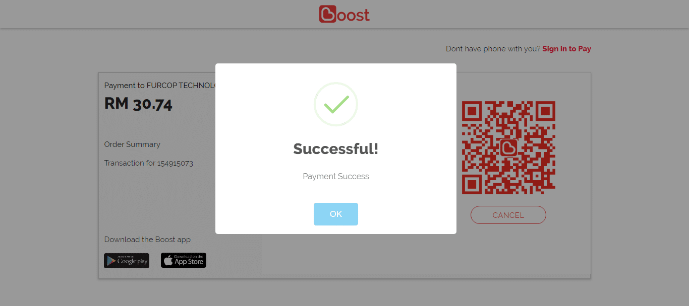 Payment fully successful after scan the QR code