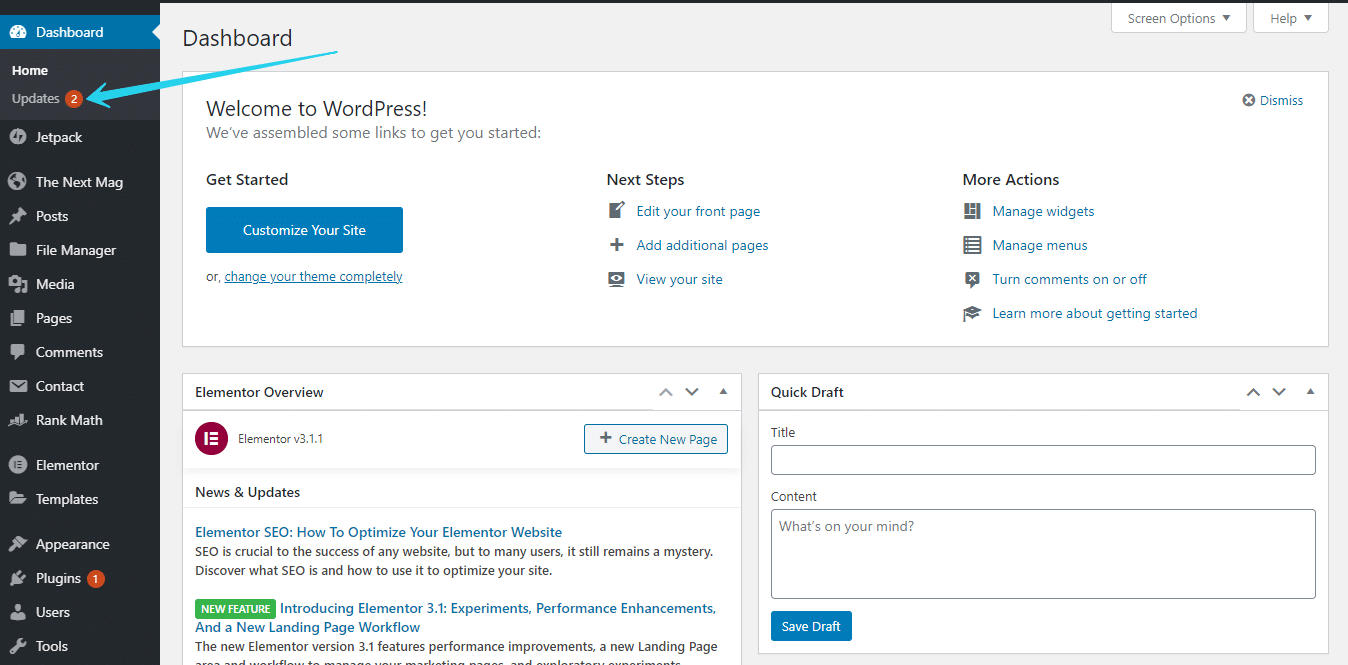 Updated the wordpress after set up